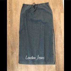 London Jeans Long denim maxi skirt 12 Straight
